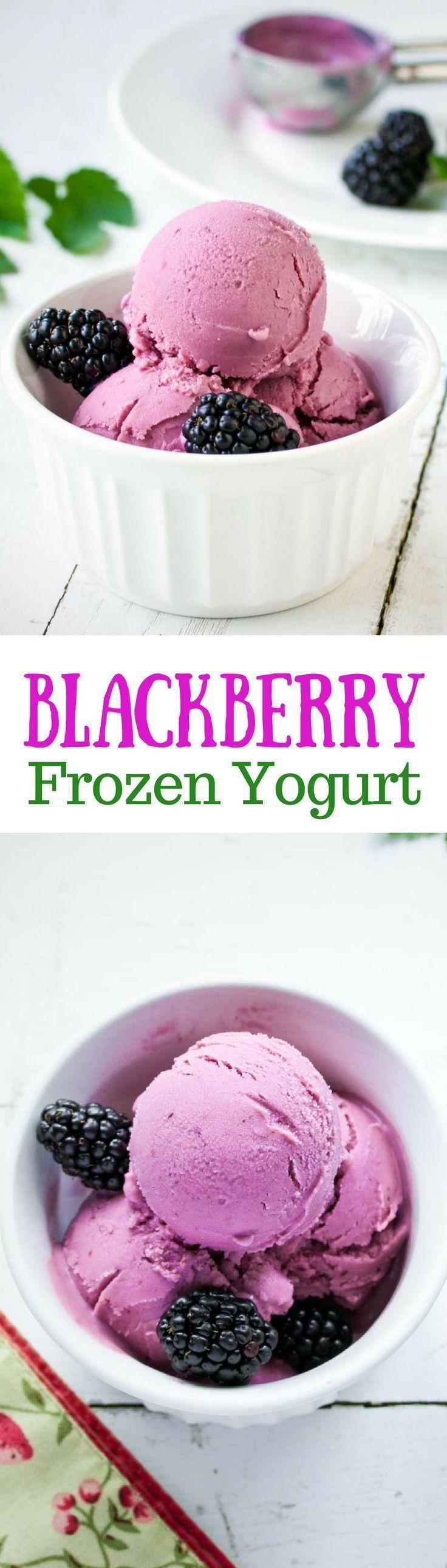 Blackberry Frozen Yogurt - a healthy way to enjoy a frozen dessert, sweetened with blackberries and honey www.savingdessert.com