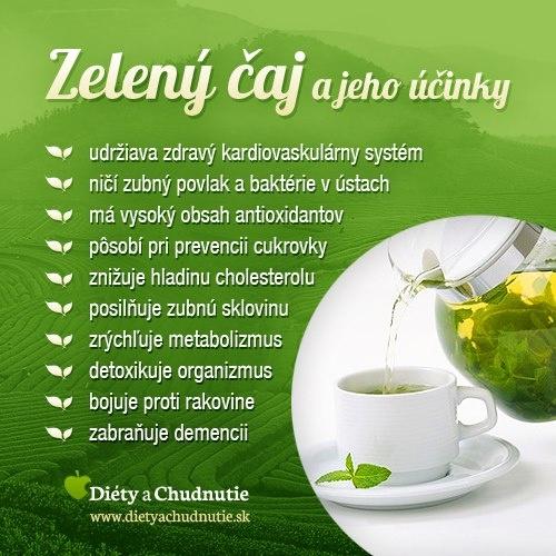 Infografika - zelený čaj a jeho účinky. Zelený čaj má množstvo blahodárnych účinkov na organizmus. Dá sa s ním aj chudnúť. Ako, dozviete sa v tomto článku http://www.dietyachudnutie.sk/ako-schudnut/chudnutie-so-zelenym-cajom/