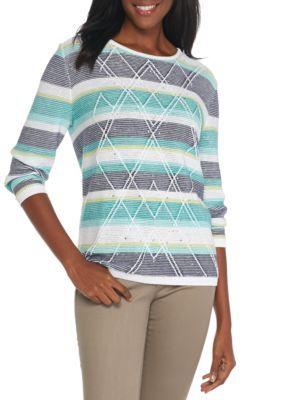 Alfred Dunner Women's Petite Montego Bay Stripe Textured Sweater