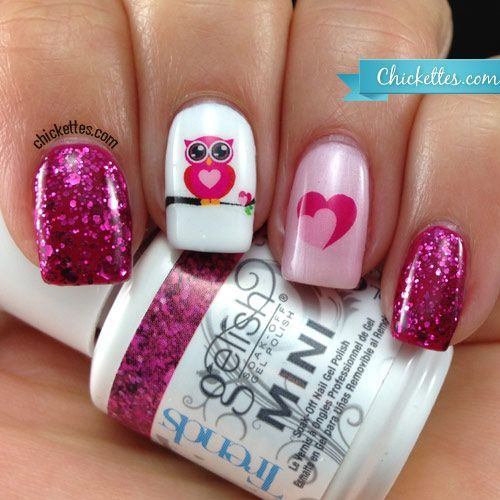"Chickettes.com ""Owl Love"" Nail Art https://www.facebook.com/shorthaircutstyles/posts/1759020237721749"