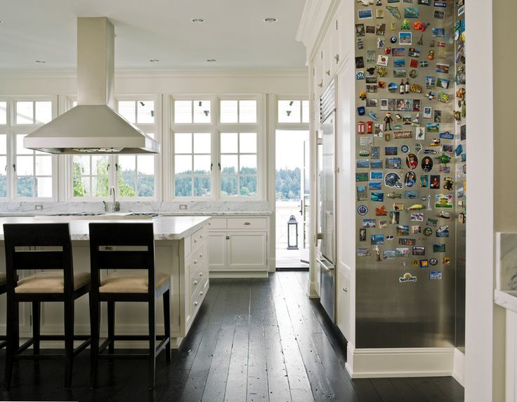 magnet wall -- install a giant magnet board in the kitchen to take over for the refrig. (after it is built in)