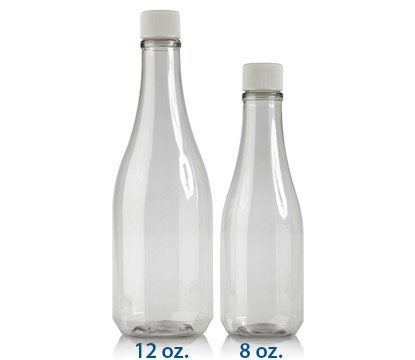 12 or 8 oz. clear plastic champagne-shaped bottles - wholesale for $1.40 each. Thinking of making organic body products...