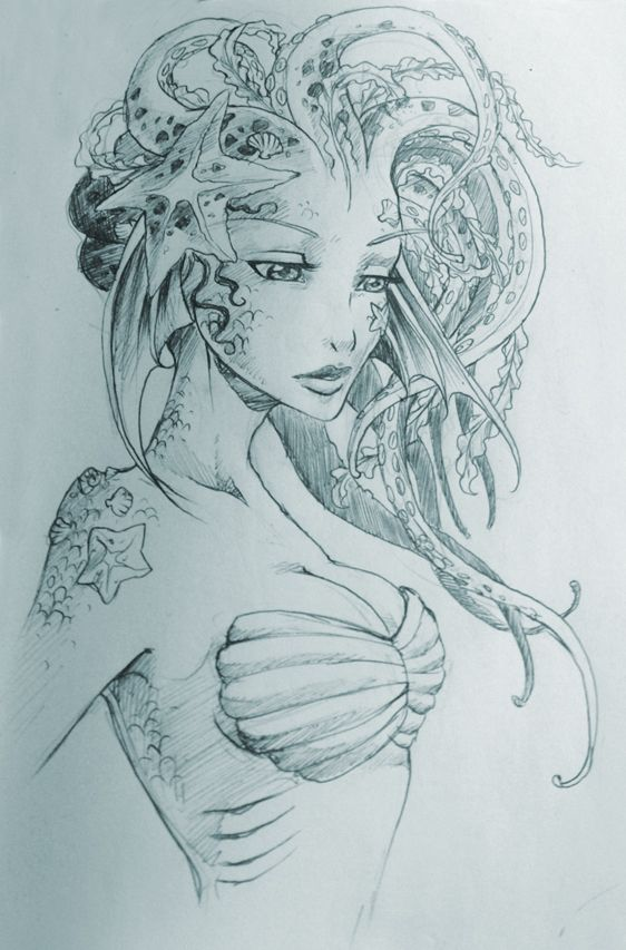 female from the sea art drawing beautiful work of art