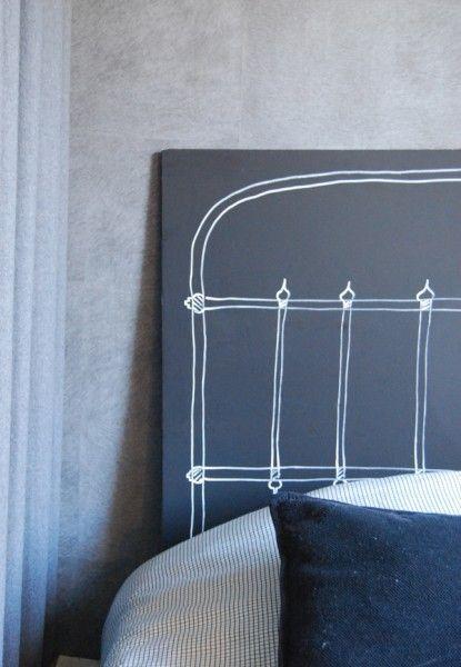 Tête de lit craie (tableau peint)