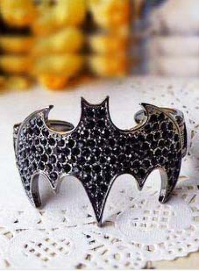 Black Gemstone Silver Batman Bracelet