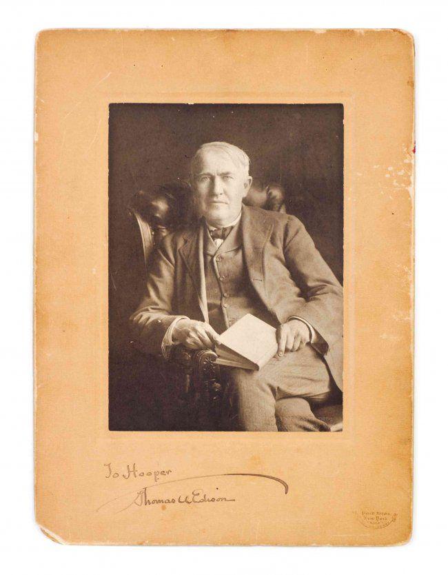 EDISON, THOMAS. Original black and white portrait : Lot 58