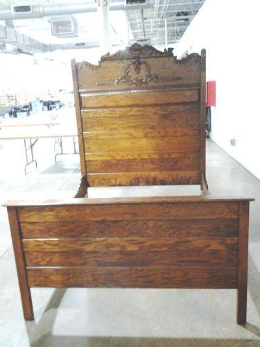 Antique 3 4 Oak Bed Ebay In 2019 Antique Beds Oak Beds Furniture