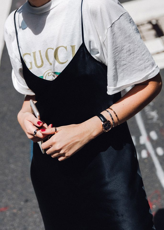 Gucci tee + silk striped dress
