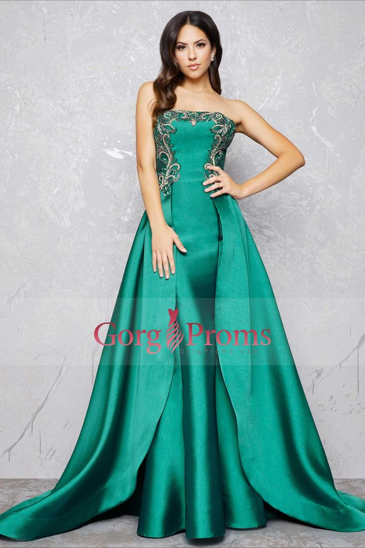 2017 Mermaid Prom Dresses Strapless Satin With Beading Sweep Train