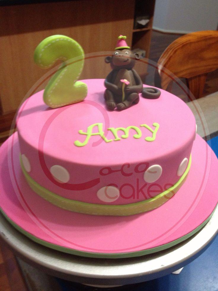 Coca Cakes - Kids Birthday - Pink Green Girl Monkey