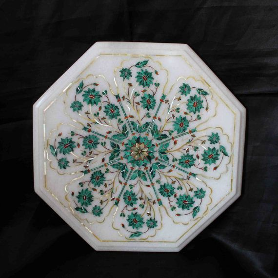 Side Table top white Marble Inlaid Marquetry Pietra Dura decorative furniture handmade in India all the semiprecious stones used