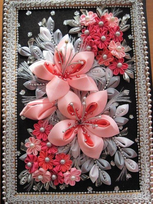 Цветы канзаши для открытки, комендантский час