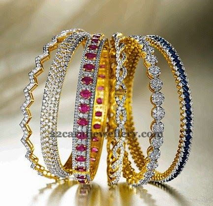 Diamond Gold Bangles by Kalyan | Jewellery Designs