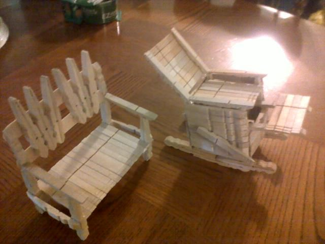121 best images about clothespin doll furniture on for Small wooden rocking chair for crafts