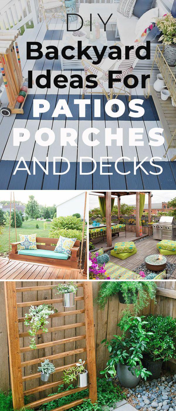8 Do It Yourself Backyard Patio Ideas 12 Diy Backyard Ideas For Patios Porches And Decks Th Diy Backyard Patio Diy Backyard Diy Patio