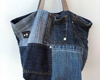 Große Denim Tasche, recyceln Jeans, Tasche, Schultertasche, Tasche Upcycled, Jeanstasche, Sashiko Stil Tasche, Hobotasche, Slouch Tasche