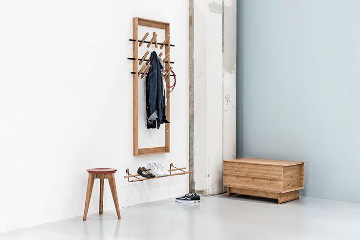 We do Wood Button stool, correlation bench en schoenenrek. Interieur voor de entree in duurzaam Moso Bamboe. Interieur, bamboe, meubels, entree, scandinavisch