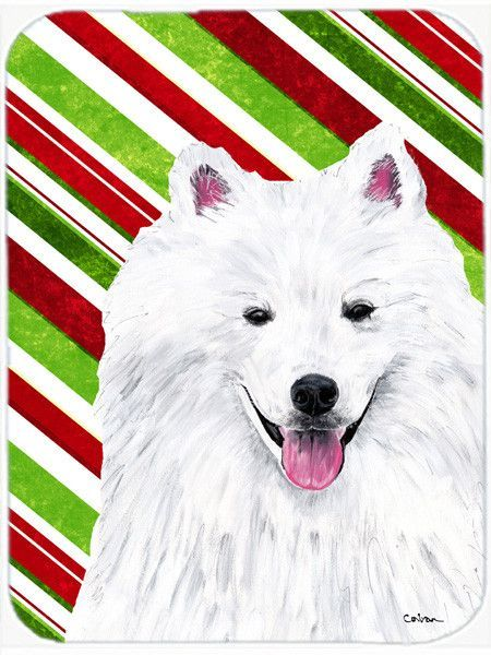 American Eskimo Candy Cane Holiday Christmas Glass Cutting Board Large