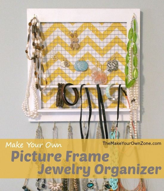 How to make a picture frame jewelry organizer - A cute and practical gift for the ladies in your life who like their jewelry!
