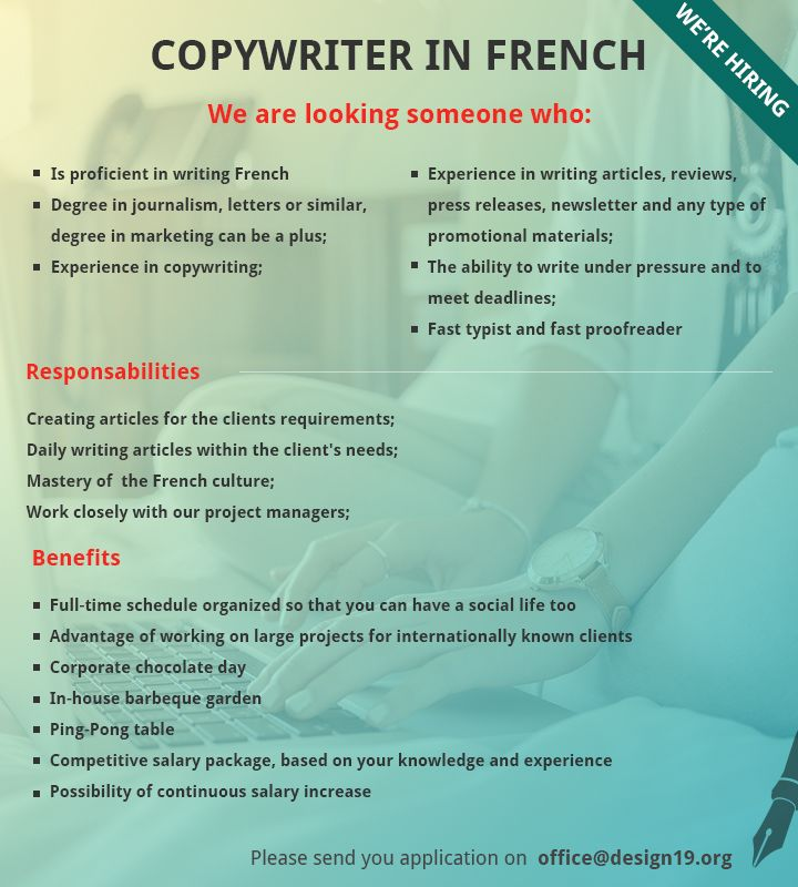 https://www.design19.org/jobs/copywriter-in-french #copywriter #french #job #cluj