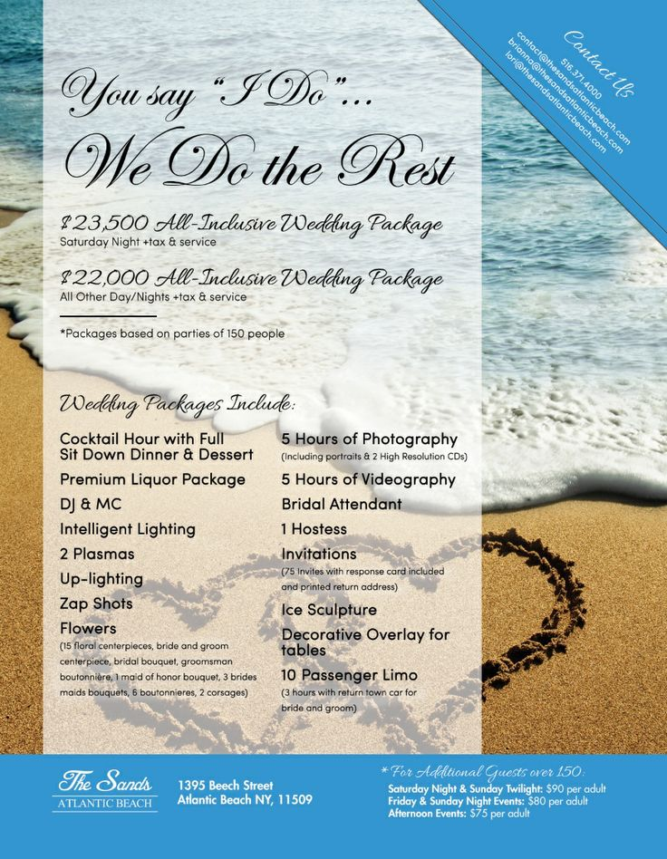 Check Out Our All Inclusive Wedding Packages We Have Available At Thesandsatlanticbeach Contact Atlantic BeachOur