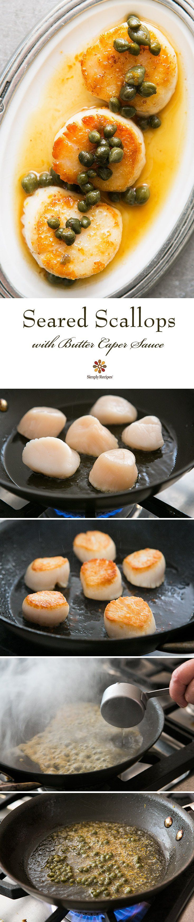 Seared Scallops with Brown Butter Caper Sauce ~ Large sea scallops, seared and topped with browned butter sauce with capers and lemon zest. ~ SimplyRecipes.com #seafoodrecipes
