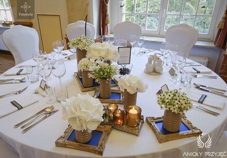3. Platinum Gold Wedding, Head table decoration, Centerpieces / Platynowo złote wesele, Dekoracja stołu Pary Młodej, Anioły Przyjęć