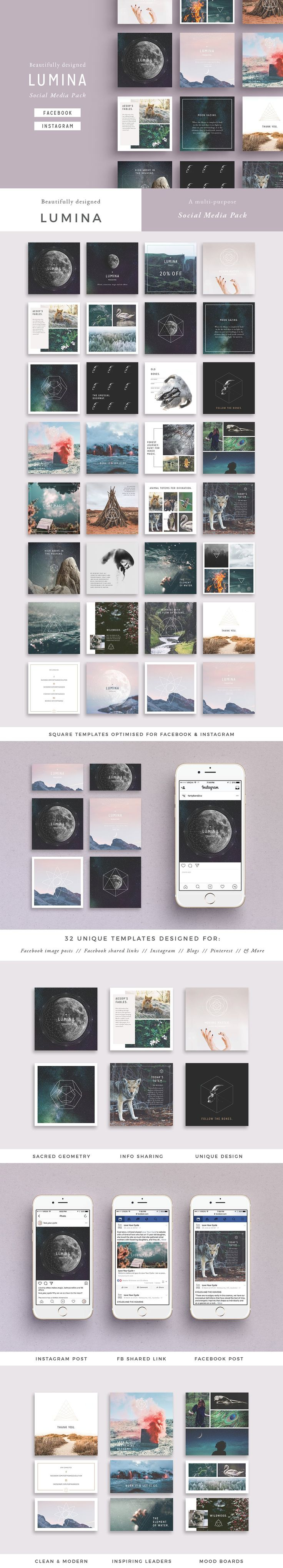 LUMINA Social Media Pack by 46&2 Collective on @creativemarket #AD