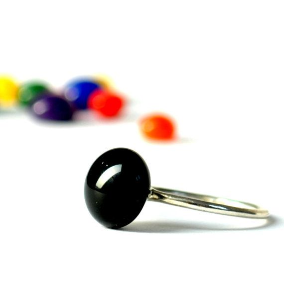 Black contemporary stacking ring  sterling silver by boldcolorglass, $24.40