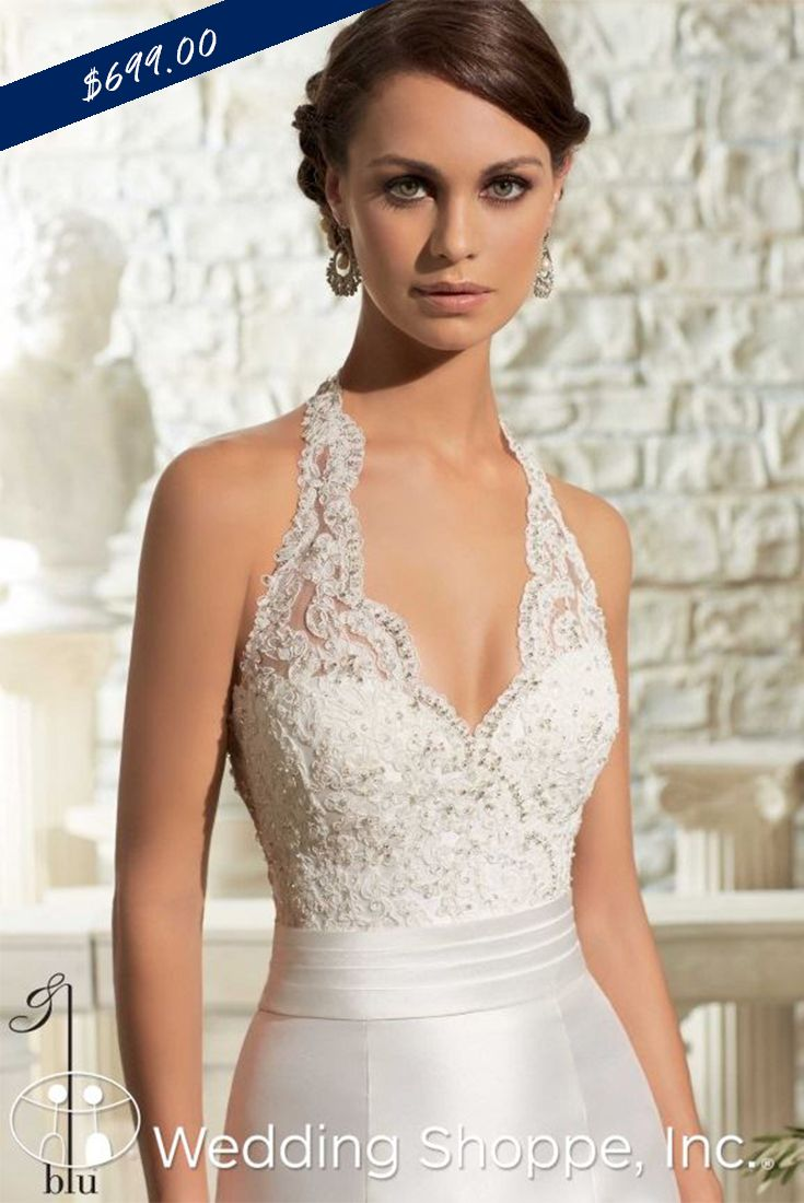 Affordable lace and satin halter wedding dress.