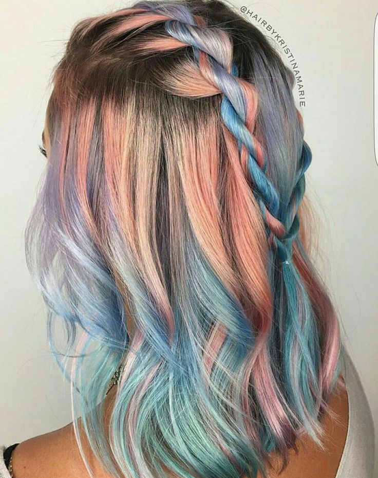 Pink peach and mint blue color melt   Braided blue and pink for short hair