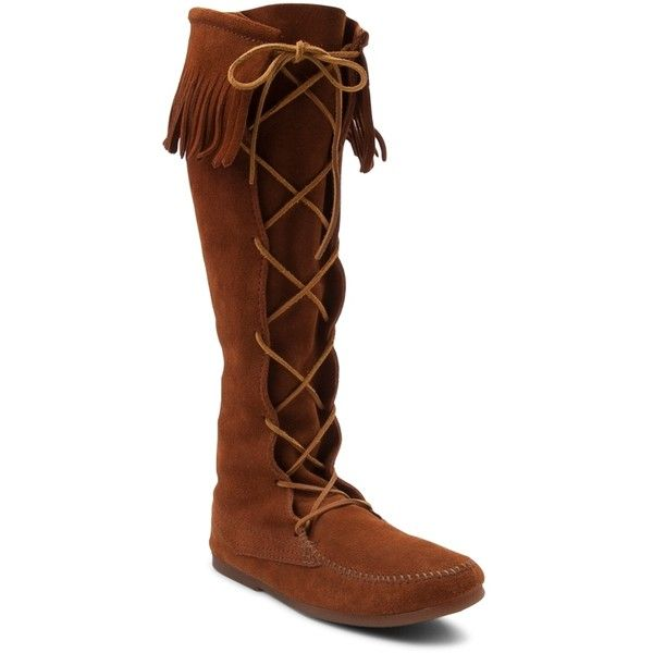 Mens Minnetonka Front Lace Knee High Boot ($99) ❤ liked on Polyvore featuring men's fashion, men's shoes, men's boots, mens new rock boots, mens lace up shoes, mens boots, mens moccasins and mens moccasin boots