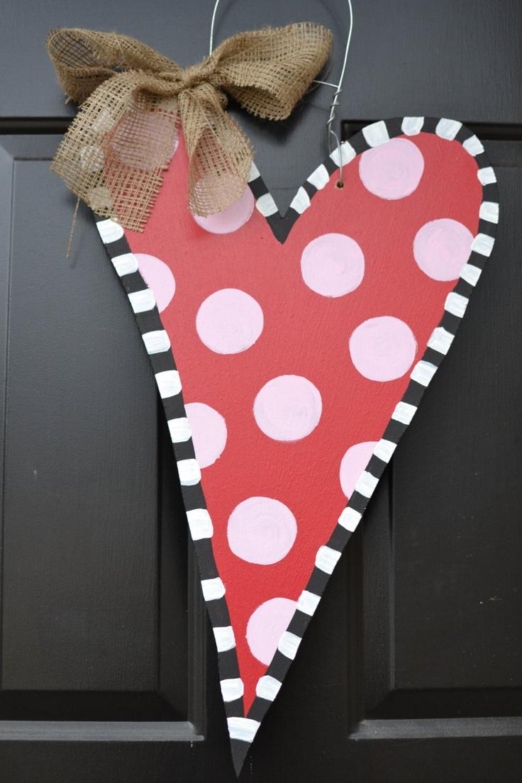Wooden Heart Door Hanger 40 00 Via Etsy Craft Ideas