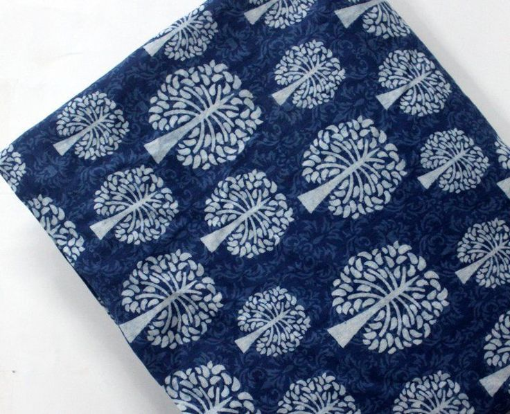 2.5yrd Indigo Blue Hand Wooden Block Print Cotton Soft Summer Dress Dabu Fabric3 #KhushiHandicraft