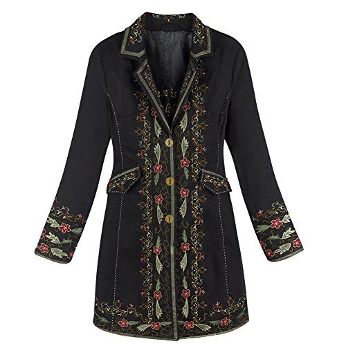 Womens Knee Length Coat  Vienna Embroidered Twill Jacket  Medium -- Learn more by visiting the image link.