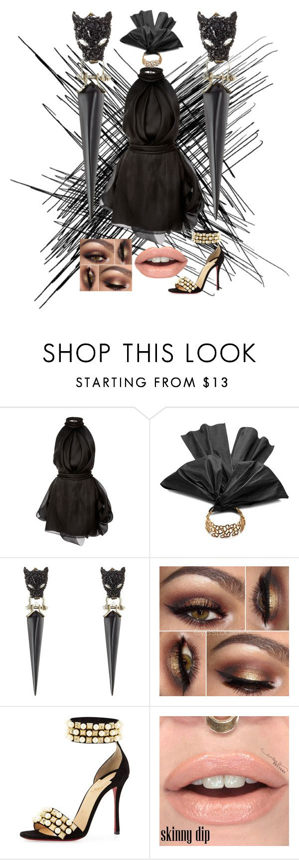 """""""Panther"""" by drichelle on Polyvore featuring Brandon Maxwell, Oscar de la Renta, Alexis Bittar and Christian Louboutin"""