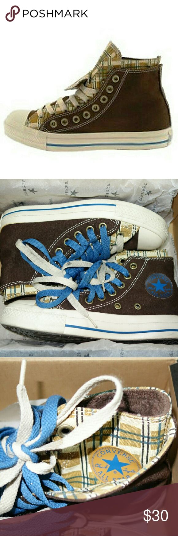 Converse Chuck Taylor All Star double layer & lace ?       Great Condition!  ?       Color: Brown, tan, blue  ?       Size: Men?s 3/W omens 5  ?       Double layer & double laces!  ?       High-tops Plaid  ?       Comes with box   ?       No longer sold anywhere ? Retail price $52.00 Now on SALE! Converse Shoes Sneakers