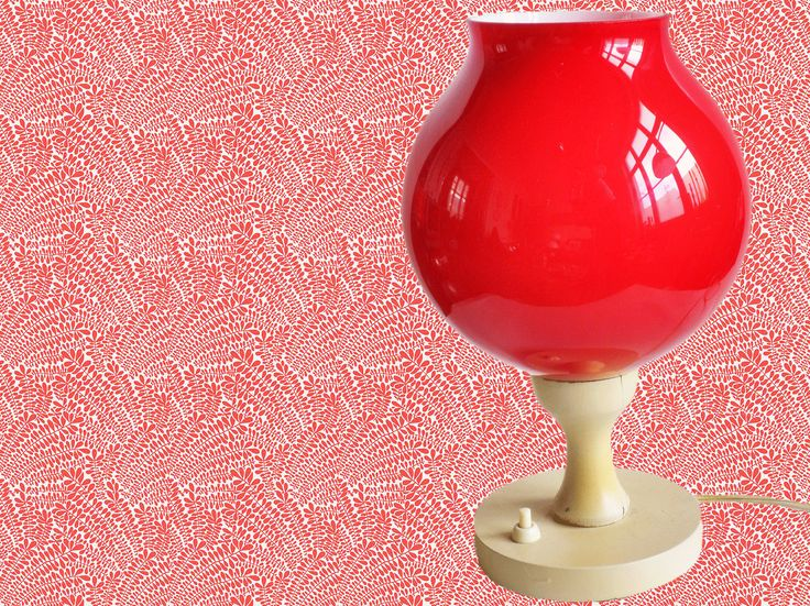 Vintage 1970s Italian Red Opaline Glass Table Lamp Night Lamp Space -Age by TresbeLLL on Etsy