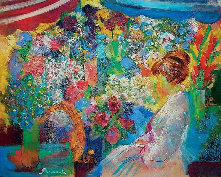 Emilio Grau Sala. Woman Sailing Flowers, 1971
