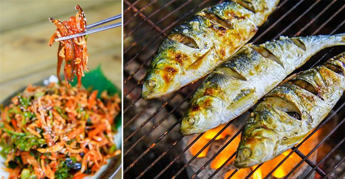 Photo) Depuis la gauche : jeoneo cru / jeoneo cuit