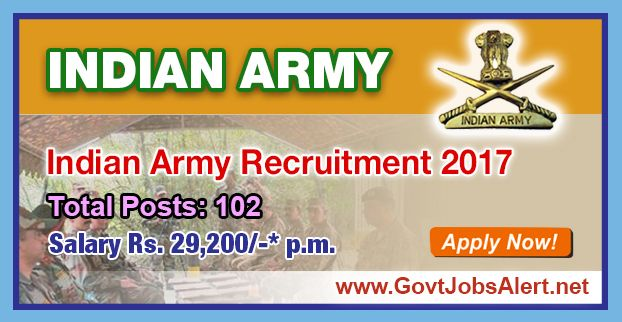 Indian Army Recruitment 2017 - Hiring 102 post Fire Engine Driver, Station Officer, Fire Fitter and other Posts, Salary Rs.29,200/- : Apply Now !!!  The Indian Army Recruitment 2017 has released an official employment notification inviting interested and eligible candidates to apply for the positions of Fire Engine Driver, Station Officer, Fire Fitter, Fireman, Tradesman Mate, Chowkidar, Tin Smith, Cook, Painter, Carpenter, Barber, Equipment Repairer and Washerman.