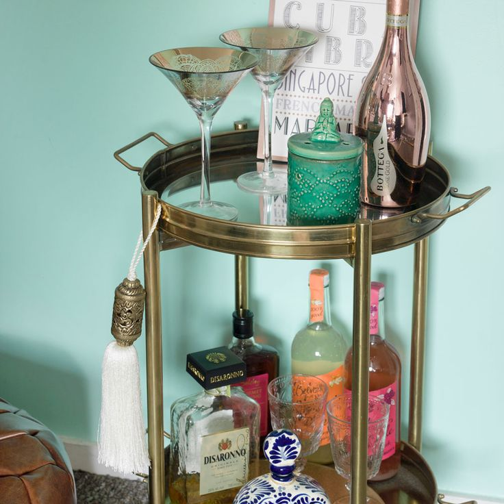 Our decorative bar cart featured during our home tour on the Ideal Homes website @prettylittlepoppet
