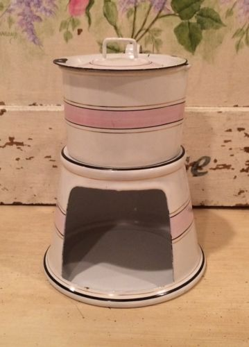 Esmalte-Frances-Vintage-Rara-Cafetera-tetera-bandas-de-color-rosa-blanco-y-placa-de-calentamiento