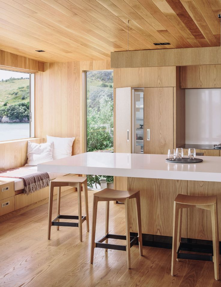 The kitchen of this Hahei holiday home was built for socialising