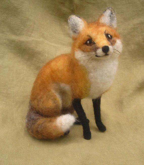 Needle felted fox poseable woodland animal by Ainigmati on Etsy, $160.00
