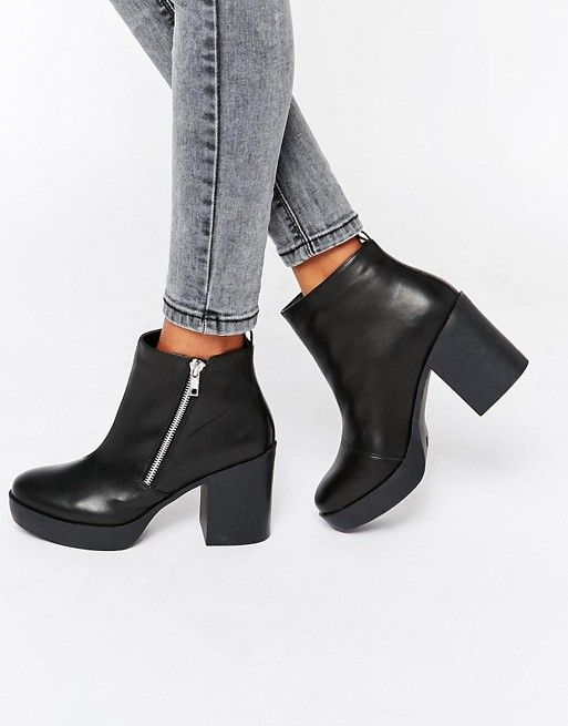 London Rebel | London Rebel - Bottines Chelsea à gros talons avec fermeture éclair