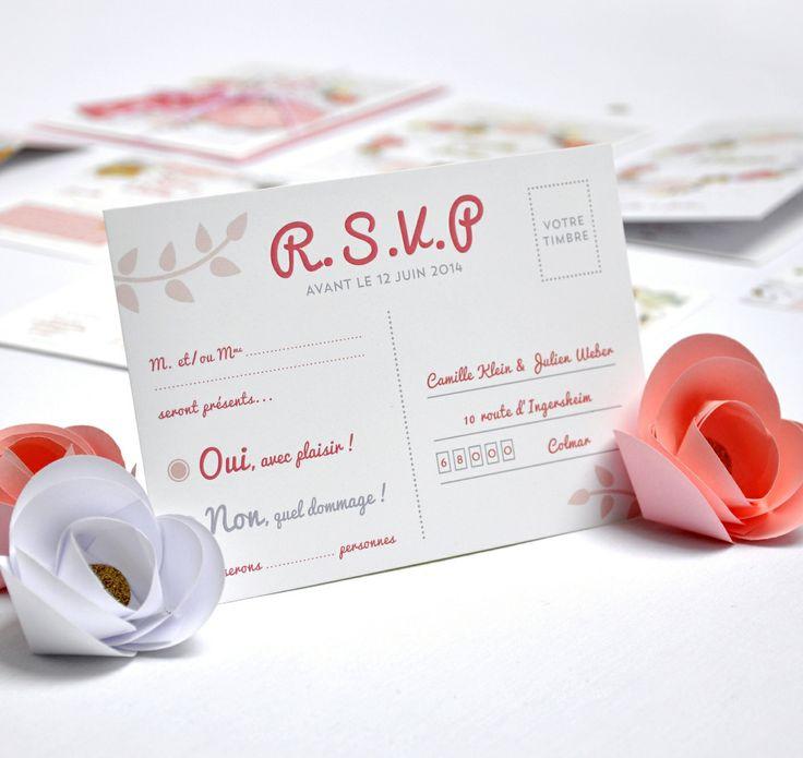 ♦︎ LOT DE 50 CARTES RÉPONSE / RSVP - Mariage - Original - Fleurs - Printemps - Bonheur - Couleurs : Faire-part par printyourlove