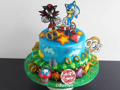 cakelava: Shadow and Sonic and The Chaos Emeralds. cake by Rick Reichart. www.cakelava.com