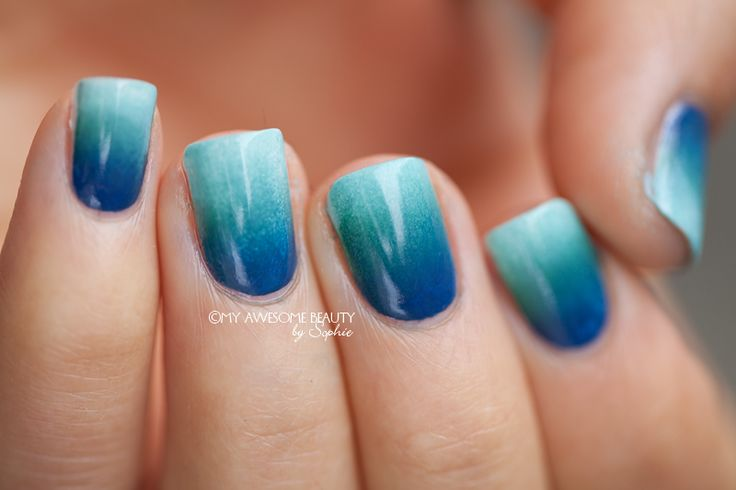 Blue Ombre Nails Airbrushed Look