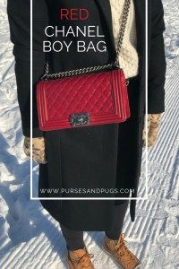 A walk in the park wearing a black outfit with camel leather Converse and a red Chanel Boy bag.